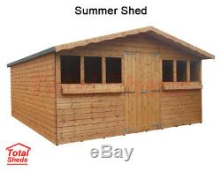 14ft X 10ft Garden Shed Summer House With +1ft Overhang High Quality Wood Timber