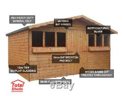 14ft X 8ft Garden Shed Summer House With+1ft Overhang High Quality Timber Wood