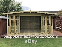 14hx10 With 2ft Veranda Summer House Heavy Duty Garden Office T&G Tanalised Shed