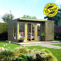 14x10 Pent Lounge Summerhouse Garden Room Pressure Treated with Store Room Shed