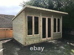 14x12'Roseberry Contemporary' Wooden Log Cabin-Summerhouse-Garden Room-Shed