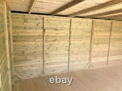14x6 CORNER SUMMER HOUSE BI FOLDING DOORS PENT SHED GARDEN OFFICE TANALISED