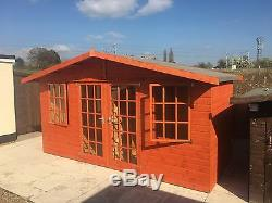 14x6 GEORGIAN SUMMER HOUSE, WOODEN SHED/GARDEN BUILDING. FREE FITTING