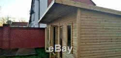 14x6 PENT SUMMER HOUSE GARDEN OFFICE SHED LOG CABIN MAN CAVE HEAVY DUTY