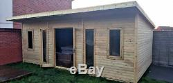 14x6 PENT SUMMER HOUSE GARDEN OFFICE SHED LOG CABIN T&G GYM