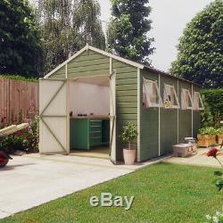 14x6 Pressure Treated Hobbyist Apex Windowed Double Door Garden Shed Tall Shed