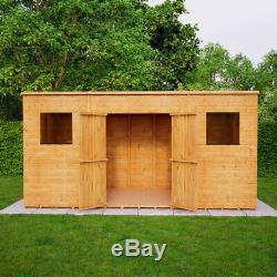 14x6 Second Factory Pent Wooden Garden Shed Windowed Central Double Door