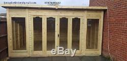 14x6 Summer House Pent Garden Office Shed Summerhouse Bi Folding Doors