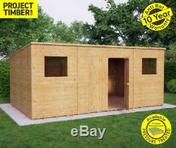 14x8 Pent Wooden Garden Shed Tongue&Groove Shiplap Cladding Central Double Doors