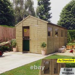14x8 Pressure Treated Hobbyist Apex Windowed Double Door Garden Shed Tall Shed