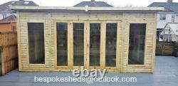 14x8 SUMMER HOUSE LOG CABIN SHED BI FOLDING DOORS GARDEN OFFICE HOT TUBE MAN