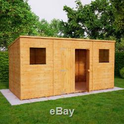 14x8 Second Factory Pent Wooden Garden Shed Windowed Central Double Door