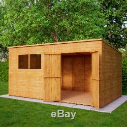 14x8 Second Factory Pent Wooden Garden Shed Windowed Offset Double Door 40% off