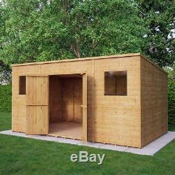 14x8 Wooden Garden Shed Pent Roof Tongue And Groove Shiplap Double Doors Windows