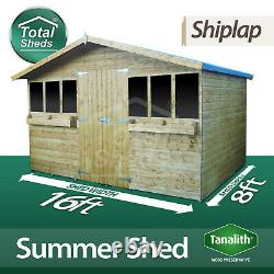 16X8 Garden Summer House Shed With +1ft Overhang Pressure Treated Tanalised