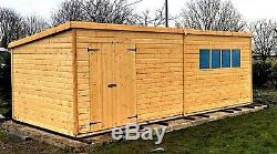 16 x 8 FT LARGE GARDEN TONGUE & GROOVE HEAVY DUTY WOODEN STORAGE SHED WORKSHOP