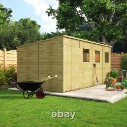 16 x 8 Pent Pressure Treated Wooden Garden Shed With Offset Double Door Windowed