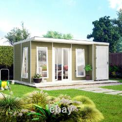16x10 Pent Lounge Summerhouse Garden Room Pressure Treated with Store Room Shed
