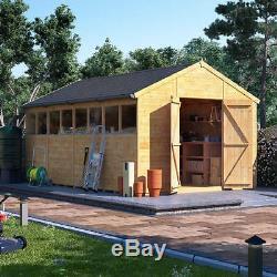 16x10 ft T&G Wooden Garden Shed Double Door Windows Tool Store Apex Workshop