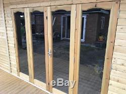 16x8 Bi Folding Doors Summer House Pent Garden Office Shed Summerhouse