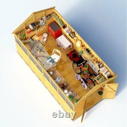 16x8 ft T&G Wooden Garden Shed Double Door Windows Tool Store Apex Workshop