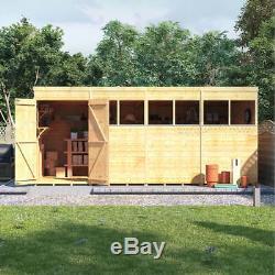 16x8 ft T&G Wooden Shed Garden Storage Workshop Double Door Windows Pent Roof
