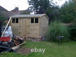 16x8ft Wooden Tanalised 19mm Garden Shed/workshop Tanalised 4' Door Gabled Shape