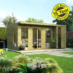 18x10 Pent Lounge Summerhouse Garden Room Pressure Treated with Store Room Shed