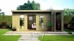 18x10 Summerhouse With Built In Shed Garden Office Workshop Pressure Treated