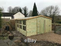 18x12'Ripley Garage' Heavy Duty Wooden Garden Shed/Workshop/Garage