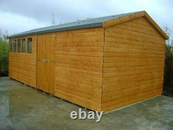 20FT X 10FT HEAVY DUTY GARDEN SHED APEX WORKSHOP EXTRA HEIGHT Brand New TIMBER