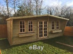 20 X 10 Deluxe Log Summerhouse With 2ft Canopy Heavy Duty Garden Shed