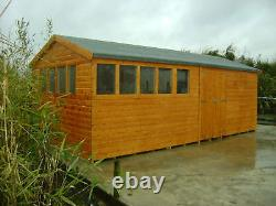20 x 10 HEAVY DUTY EXTRA HEIGHT SHED 19mm T&G SHIPLAP TOP QUALITY WOODEN TIMBER