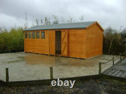 20 x 10 HEAVY DUTY EXTRA HEIGHT SHED 22mm TANALISED LOGLAP WOODEN WORKSHOP