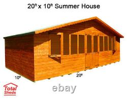 20 x 10 SUPREME SUMMER HOUSE LOG CABIN WOODEN SHED TOP QUALITY TIMBER