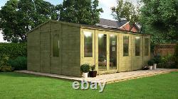 20 x 14 Pressure Treated Offset Double Door Wooden Garden Summerhouse Apex Shed