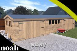 20x10'New Texan Workshop' Heavy Duty Wooden Garden Shed/Workshop/Garage