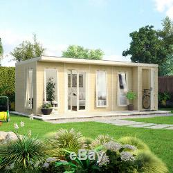 20x10 Pent Lounge Summerhouse Garden Room Pressure Treated with Store Room Shed