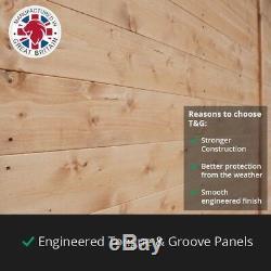 20x10 ft T&G Wooden Garden Shed Double Door Windows Tool Store Apex Workshop