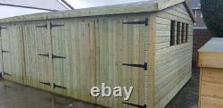 20x12'New Texan Workshop' Heavy Duty Wooden Garden Shed/Workshop/Garage