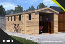 20x8'Hamstead Garage' Heavy Duty Wooden Garden Shed/Workshop/Garage