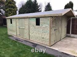 22x12'Swindon Garage' Heavy Duty Wooden Garden Shed/Workshop/Garage