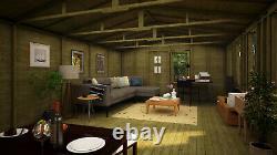 24 x 12 Pressure Treated Offset Double Door Wooden Garden Summerhouse Apex Shed