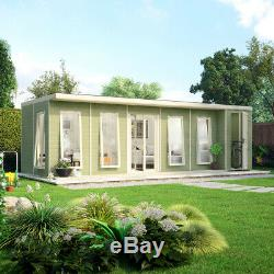 24x10 Pent Lounge Summerhouse Garden Room Pressure Treated with Store Room Shed