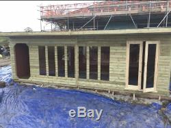 26x10ft Fully Insulated Summer House with 20ft Log Store Garden Workshop Shed