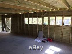 30X16' Wooden Garden Summerhouse 19mm Ultimate Pent Shed/Garage 2.4' Double Door