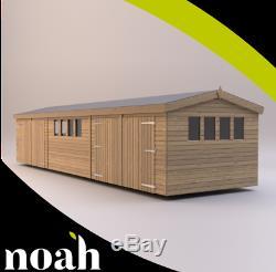 30x10'New Texan Workshop' Heavy Duty Wooden Garden Shed/Workshop/Garage