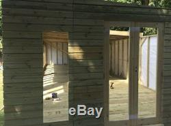 40x14 Large Summerhouse Garden Office Studio Wooden Pent Roof Shed 2ft Overhang
