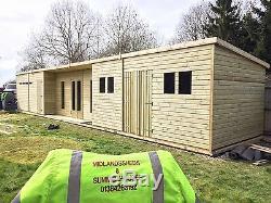 48 X 10ft Wooden Summer House Studio 2ft Overhang Pent Roof Luxury Garden Shed