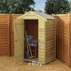 4x3 Overlap Wooden Shed Window Single Door Apex Roof Felt Garden Sheds 4ft 3ft